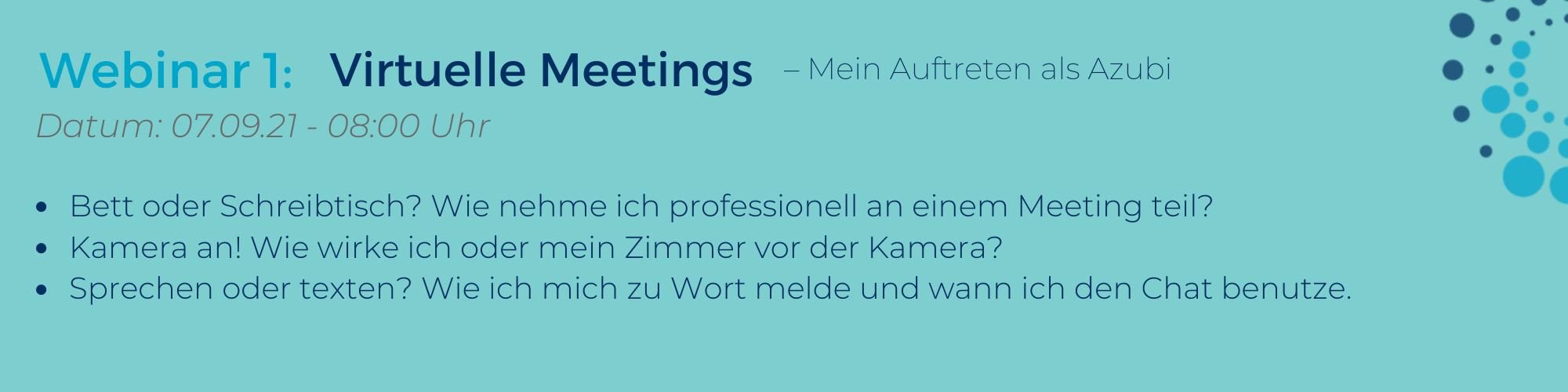Webinar: Azubi-Webinar-Reihe Virtuelle Meetings für Azubis